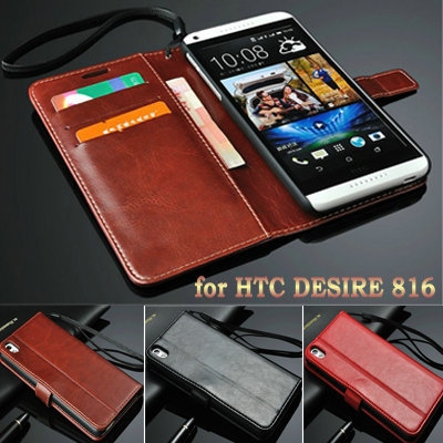 Luxury Book Stand Design PU Leather Case for HTC Desire 816 800 D816W Phone Back Cover With 3 Card Holders+ 1 Bill Side(China (Mainland))