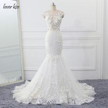 נשיקת מאהב Robe de Mariage 3D פרחי חתונה שמלה סקסי בת ים תחרה חתונה כלה שמלות לראות דרך Vestido דה Noiva 2020(China)