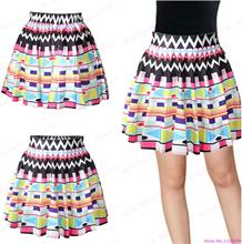 New Above Knee Skirts Tennis Skirts A-line Pettiskirt Miniskirt Female Skater Saia Faldas Geometry Pleated Skirts Printed