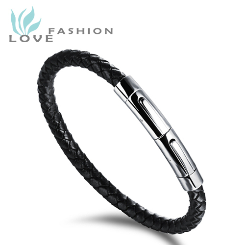 Wholesale 2015 New Fashion Popular Jewelry Mens Stainless Steel Black Leather Bracelets Man Hand Chain Vintage