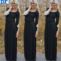 Long Sleeve Maxi Dress 2015 Latest Designs Black Dress With White Lace Vestidos China Imported Party Dresses Celebrity Cheap XL