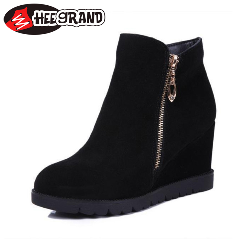 Гаджет  New 2015 Women Suede Boots Pointed Toe Ankle Boots Comfortable Platform Women Flock Shoes Wedges XWX3227 None Обувь