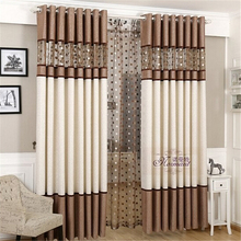 Luxury stitching embroidery yarns blackout curtains bedroom finished curtain fabric living room window curtain(China (Mainland))