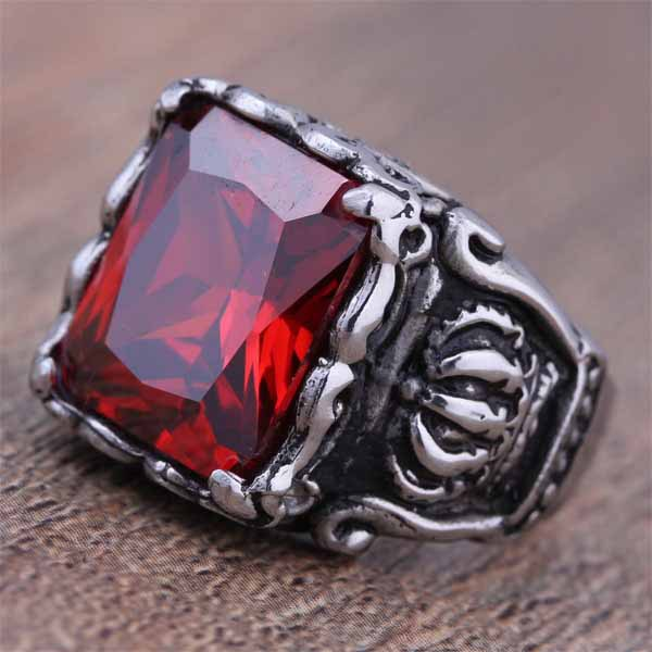 2015 New Stainless Steel Fashion Red Zircon Crown Design Ring For Men CZ Stone Classic Male Jewelry US Size 6 7 8 9 10 11 (A156)(China (Mainland))