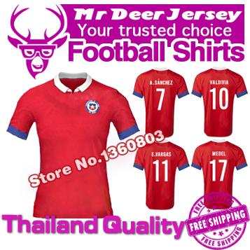 2016 Chile jersey 15 16 CONMEBOL Chile home red soccer jersey ALEXIS SANCHEZ VIDAL Custom name VARGAS SUAZO MEDEL VALDIVIA(China (Mainland))