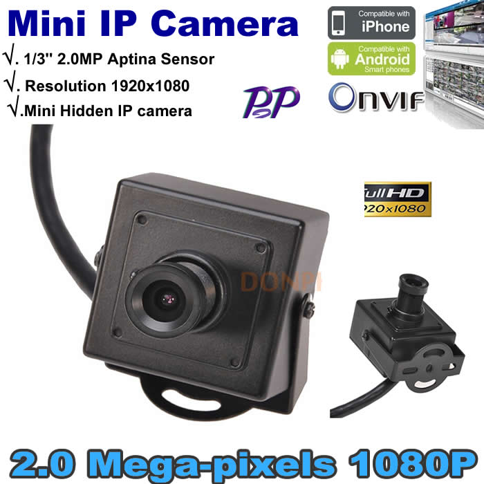 Free shipping Full HD P2P Metal Hidden Mini IP camera 1080P Size 42x42mm Support Onvif 2.0mp Network CCTV Camera Mini black case(China (Mainland))