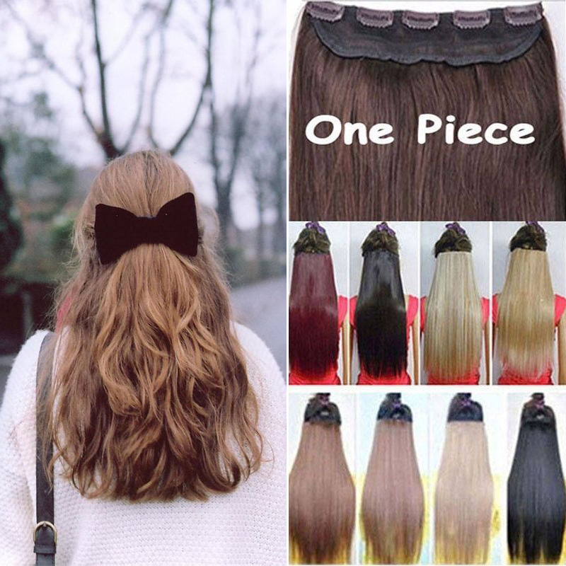 """12"""" Width 24"""" 26"""" 3/4 Full Head Hair Extensions Clip in Hairpiece 5clips 100% Real Natural Synthetic Fibre Fake Fales Hair Piece(China (Mainland))"""