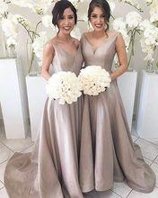 robe de mariage 2017 vestidos de praia longo adult V-Neck Long Sleeveless Satin robe demoiselle d honneur longue party dresses(China (Mainland))