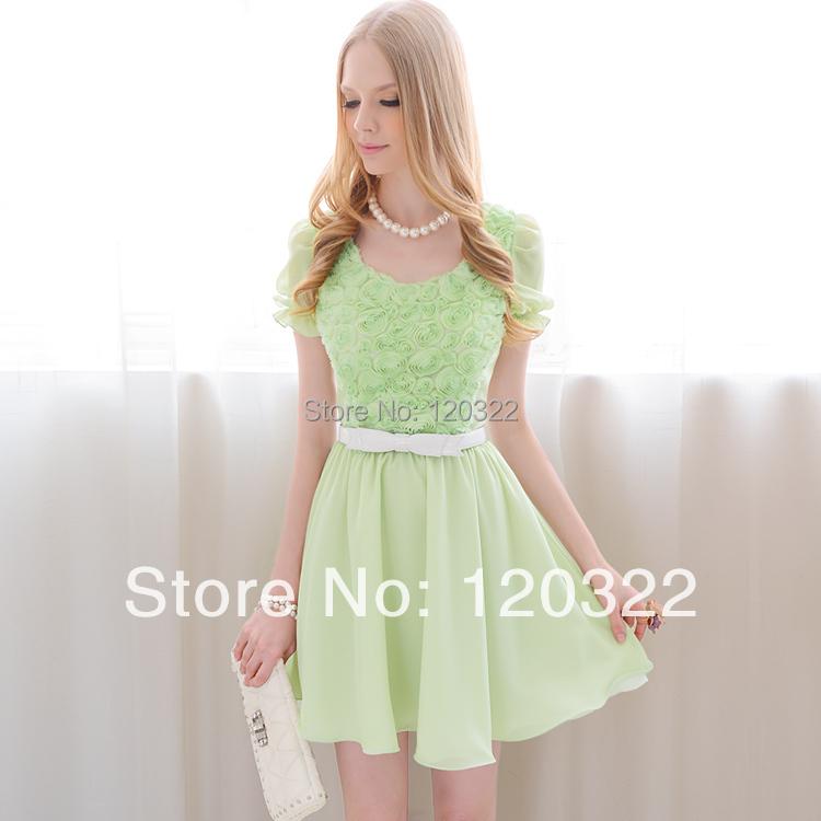 DABUWAWA Original 2015 Brand Summer Green Flower Slim Casual Vintage Chiffon Women Dress Clothing Wholesale(China (Mainland))