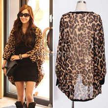 summer thin woman blouse chiffon leopard print kimono cardigan bawting long sleeve jackets,blusa chifon blusas feminina(China (Mainland))