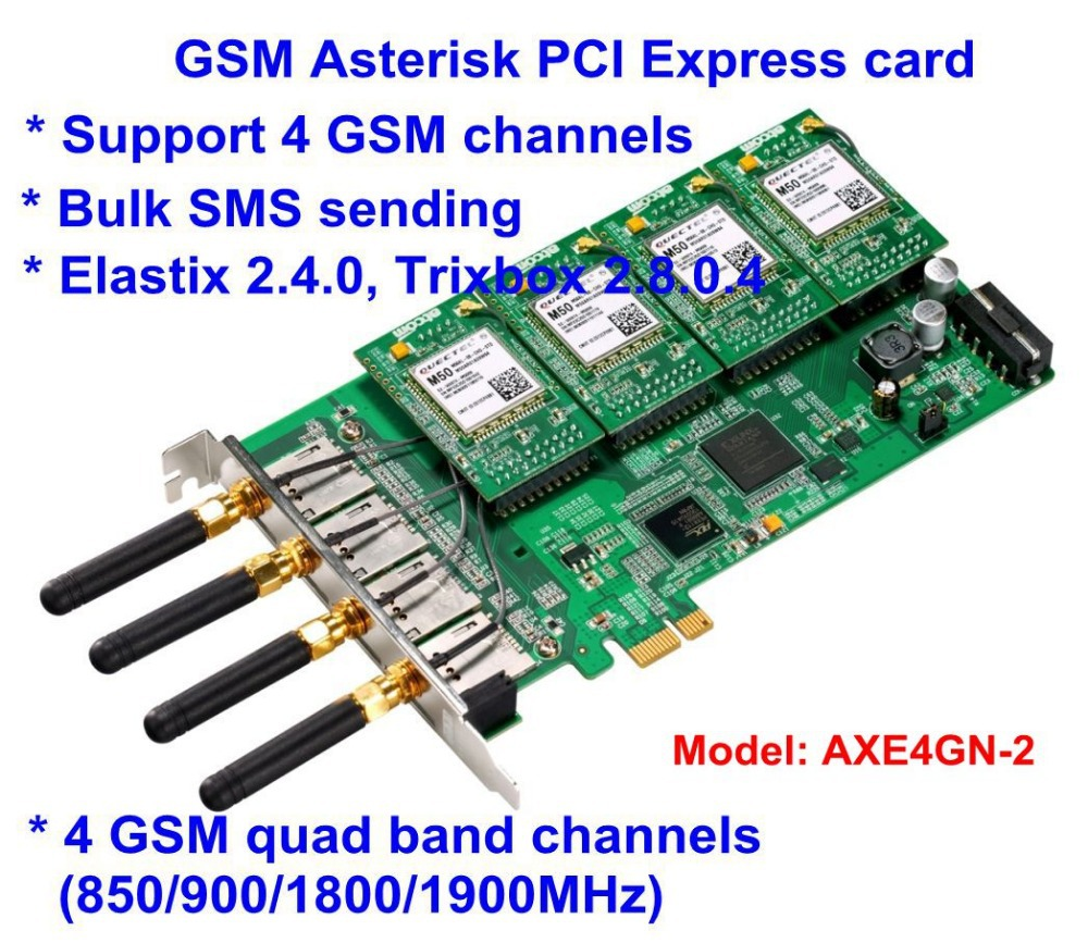 AXE4GN -2 2 Channels GSM GPRS Cell Asterisk PCI-E Card 2 SIM Modules with 2 Antenna GSM connectivity for Asterisk IP PBX(China (Mainland))