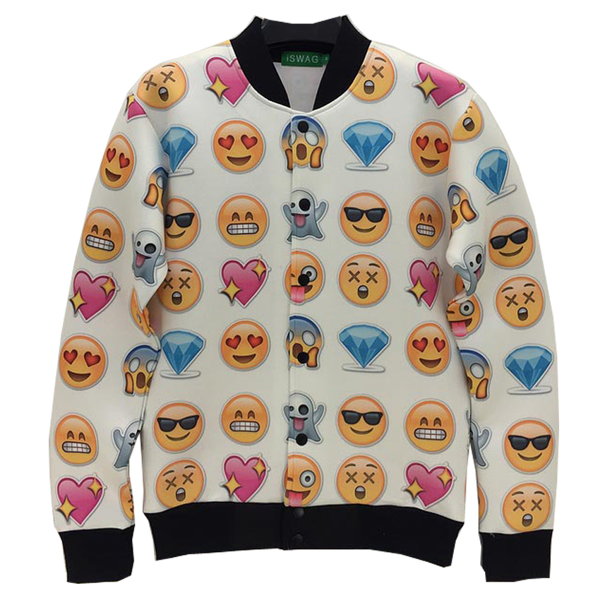 Autumn and winter fashion Personality 3D Various expressions the both sides patterned printing men's jackets size:S-XL NJ6(China (Mainland))