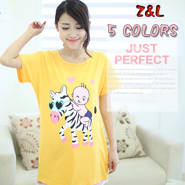 HOT~Summer comfortable maternity clothing short-sleeve cartoon cotton t shirts pregnant women large size tops - Fashion store