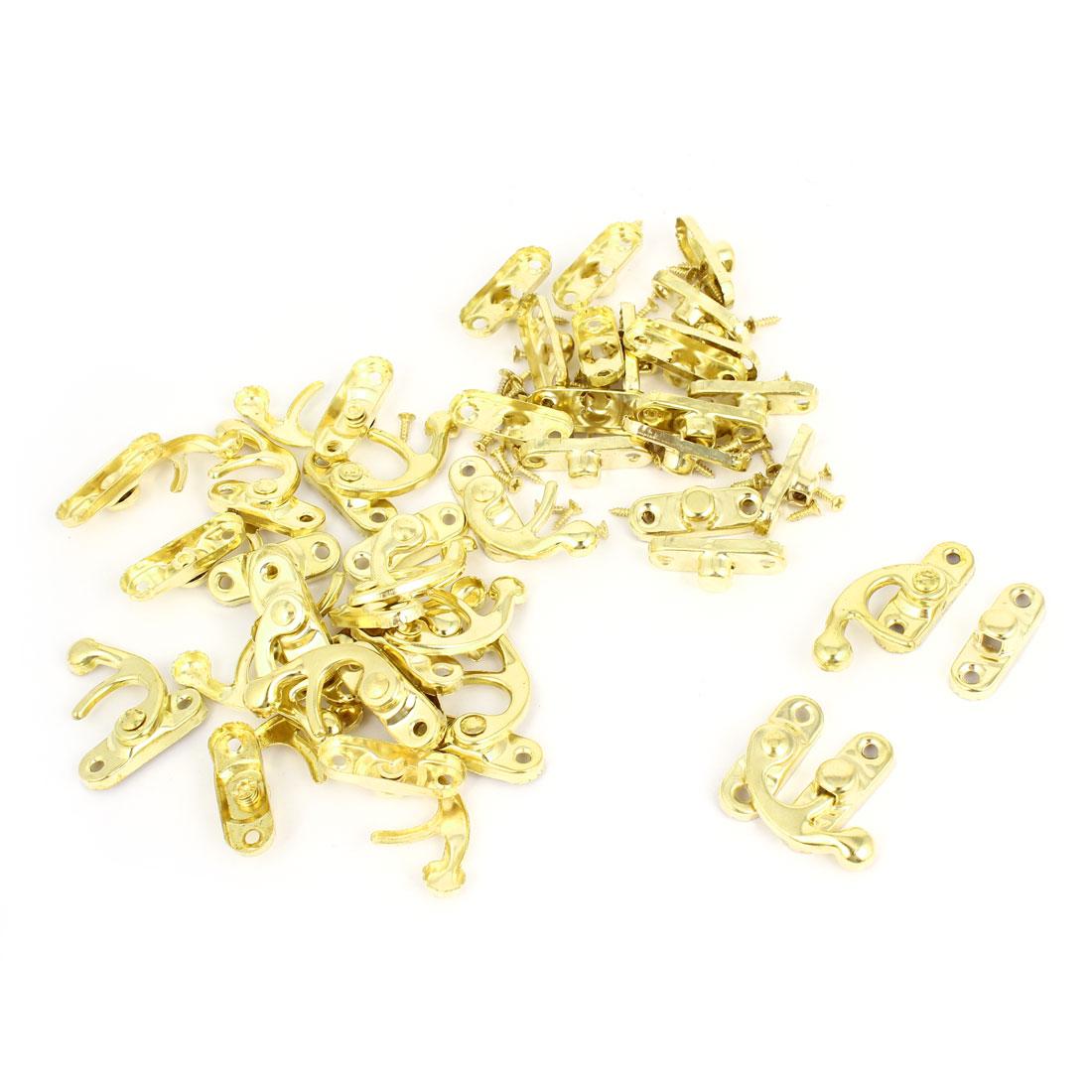Right Latch Hook Antique Wood Box Catch Decorative Gold Tone 20 Pcs w Screws<br><br>Aliexpress