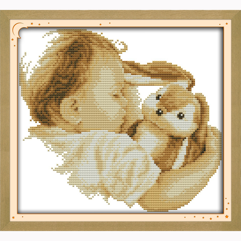 Baby and his doll 14ct Modern Needlework DIY DMC Cross stitch Sets For Embroidery kits Precise Printed Counted Cross Stitching(China (Mainland))