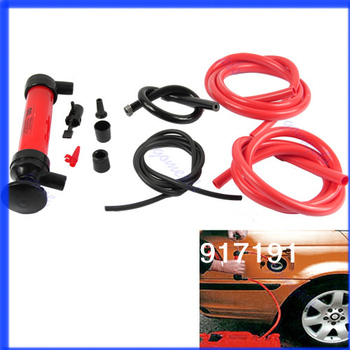 Free Shipping Car Tire Water Oil Fuel Change Transfer Gas Liquid Pipe Siphon Tool Air Pump Kit