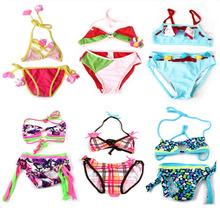 Color Children Girls Kids Bikini Bathing Suit Split Floral Tankini Beach Swim Wear Swimwear Two Pieces Cute Pattern Printed Set(China (Mainland))