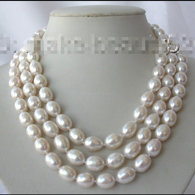 stunning 3rows 13mm baroque white freshwater cultured pearl necklace s832^^^@^Noble style Natural Fine jewe SHIPPING (C0309)<br><br>Aliexpress