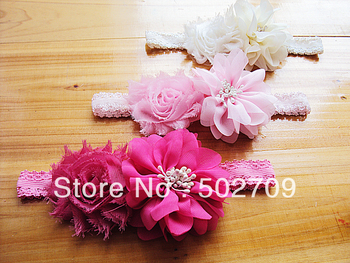 Super Quality Luxury Baby Infants Photography Acessories Girls Shabby With Chiffon Flower Hair Headband