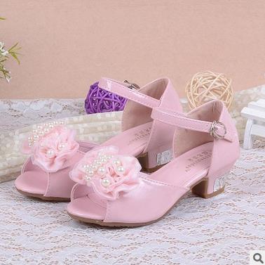 Girls high heels shoes charming rose flower princess pearl leather elsa sandals summer for kids for girls melissa infantil 16a<br><br>Aliexpress