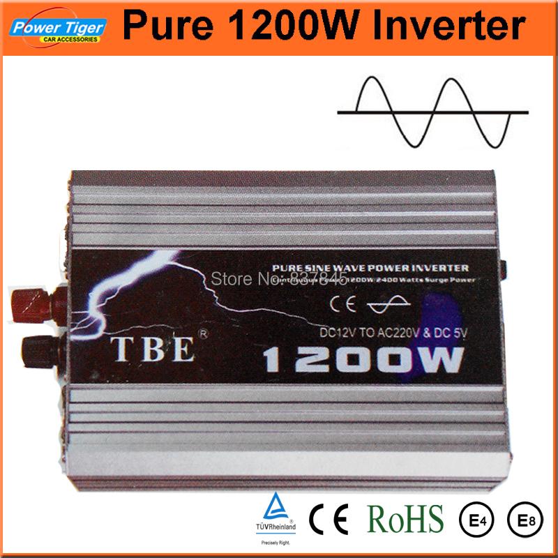 Гаджет  New Arrive Auto Car Power Inverter 1200Watt 1200W DC 12V to AC 220V With USB Converter Pure Sine Wave Wholesale Free Shipping  None Электротехническое оборудование и материалы