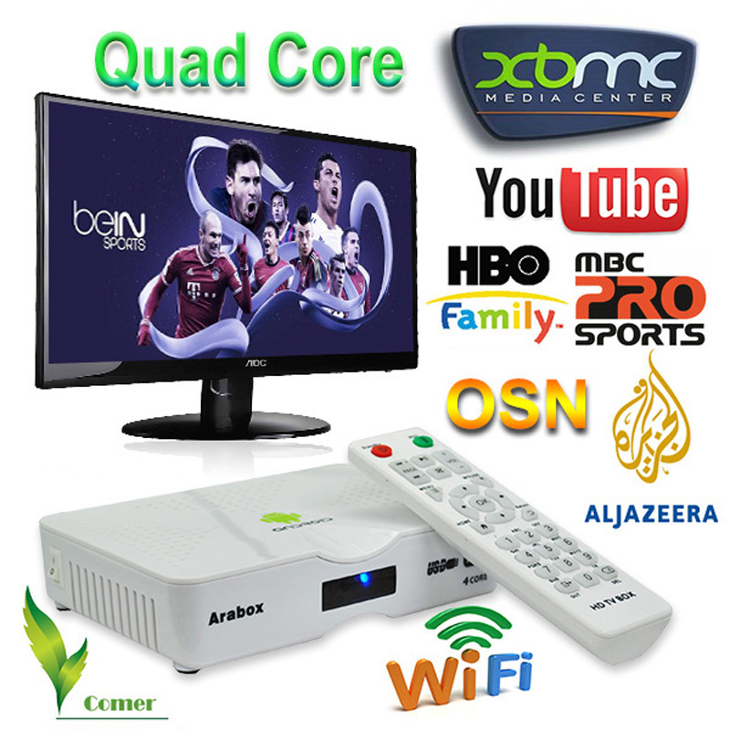 Arabic IPTV Box,450+ Free Arabic Channels box, Arabic IPTV with Android 4.4 Smart Mini PC TV Box with Free MBC/OSN/Bein Sports(China (Mainland))