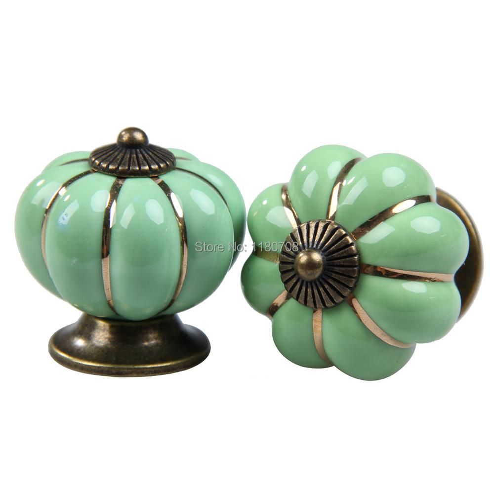 Green 1 Pair Pumpkin Knobs Ceramic Kitchen Door Drawer Cupboard Pull Handles(China (Mainland))