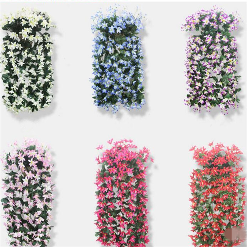 2pcs Artificial Lily Hanging flower Vine winter jasmine flower vines plastic Rattans for home party wedding decorations(China (Mainland))