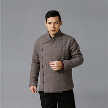 Chinoiserie Winter Men Padded Jacekt top quality pure linen cotton-padded Coat Warm Parka Jacket 3 Colors Plus Size Jacket