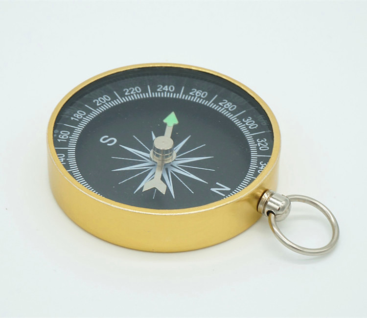 Wholesale 100pcs/lot Cheap Customized LOGO Print Best Training Aid Metal silver/black/gold Mini Aluminium Keyring Round Compass(China (Mainland))