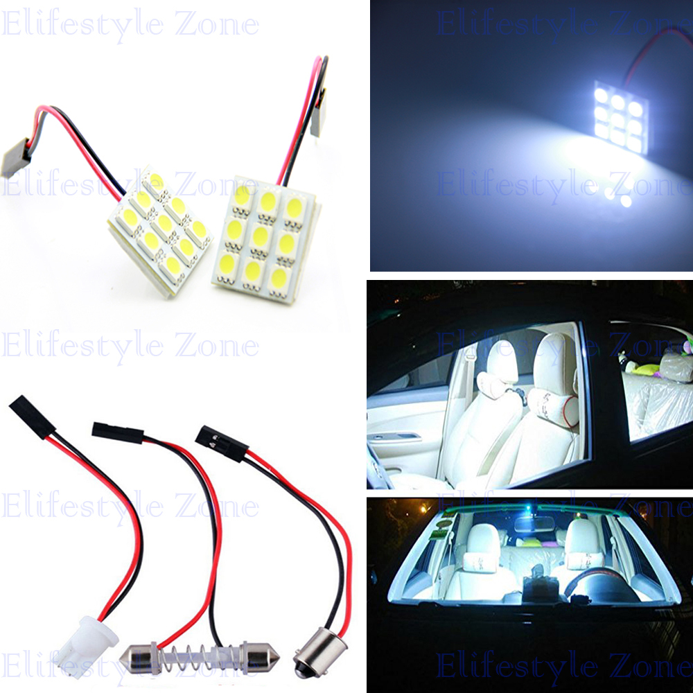 2 Sets of T10 Festoon BA9S 9 SMD High Power 5050 Reading Dome Lights Car Interior Lights Super White 12V DC with Adapter Bases(China (Mainland))