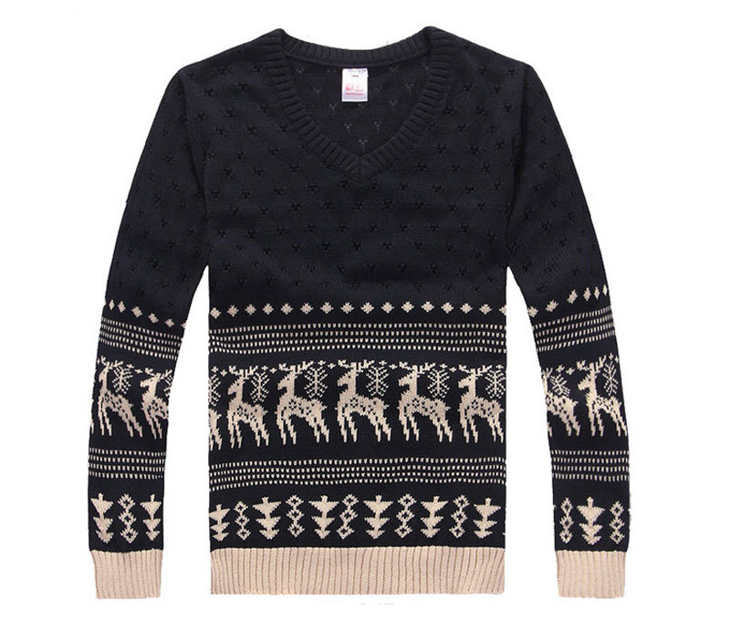 new 2015 fahion winter warm knitted mens ugly christmas deer sweater V neck long sleeve reindeer