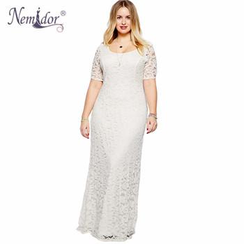 Nemidor 2017 Women Elegant Lace Party Dress Plus Size 7XL 8XL 9XL Short Sleeve Floor Length Summer Casual Long Maxi Dress