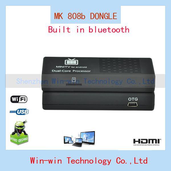 2014 new MK808b Android 4 HDMI TV Stick TV Dongle Rockship RK3066 Dual Core 1GB 8GB Mini PC Built in Bluetooth Free Shipping(China (Mainland))