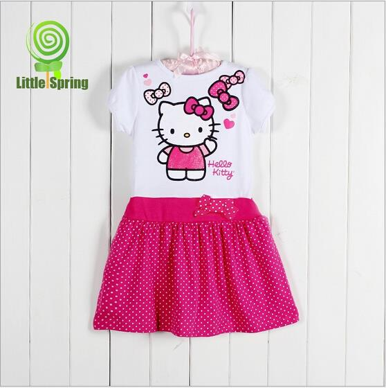 LZ-Q0185 Hello kitty kids clothes High-end girl casual vestidos infantis Hot-sale fantasy child dress Nice toddler dresses girl(China (Mainland))