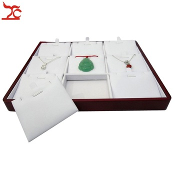 High Quality Red Painted Wooden Jewelry Display Case 9Slot Portable Pendant Display Tray 22.5*19*2(cm) Free Shipping