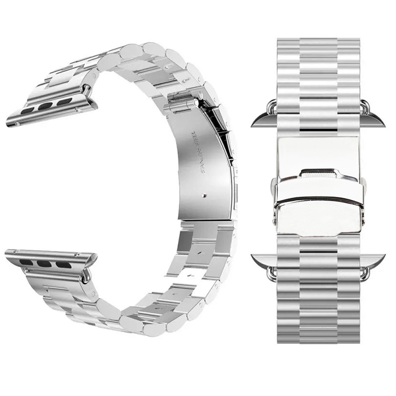 Classic Silver Stainless Steel Watch Strap Watchband Apple 38mm 42mm Metal Adapter Connector Replacement