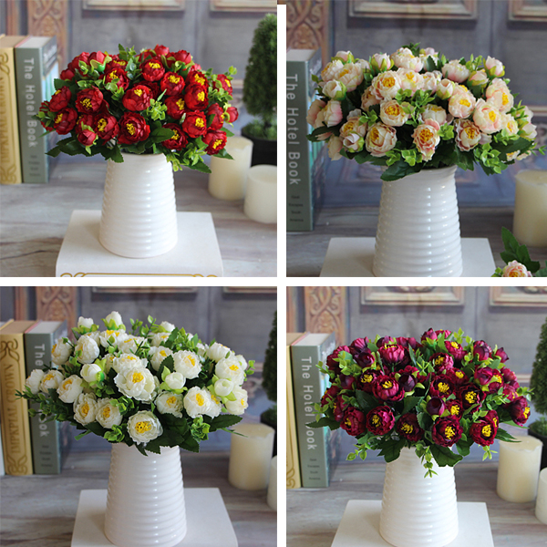 Artificial Red Spring Flowers 15 Flower Heads Pearl Tea Rose Magnolia Wedding Garden Peony Bouquet Decor(China (Mainland))