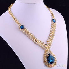 Nobility Gold Pleated Blue Sapphire Pendant Necklace Fashion Jewelry 1FVU