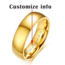 Vnox Cá Nhân Hoá Vàng-màu Wedding Bands Nhẫn đối với Phụ Nữ Người Đàn Ông Đồ Trang Sức 6mm Thép Không Gỉ Engagement Nhẫn Kỷ Niệm Quà Tặng(China)