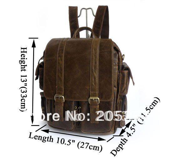 Vintage Leather Dark Brown Men's Backpack Bag Travel Bag Fashion Classic Style Handbag Optional LOGO FREE SHIP #7038B-2