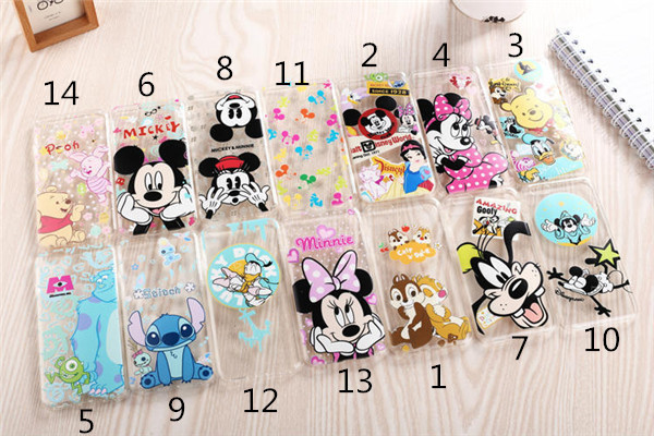 """2015 New arrive 14 stylel For Apple iphone 6 4.7"""" case Transparent cartoon duck mickey minnie Snow White cell phone cases covers(China (Mainland))"""