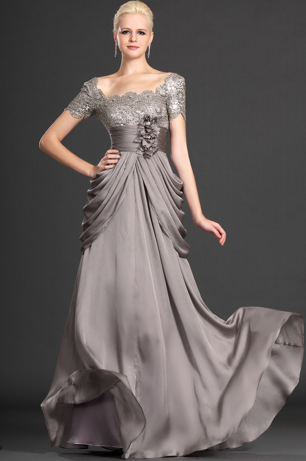 Floor length a line long charcoal gorgeous chiffon lace for Wedding dresses for mother of bride