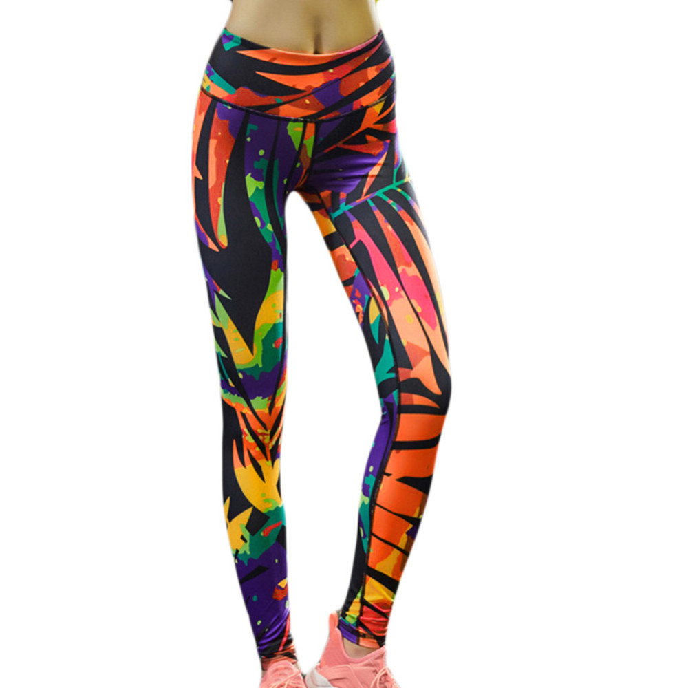 Colorful Yoga pants Women New Style Print Sports Yoga Pants Elastic Compression Tights Fitness Gym Running Leggings Fahion Color