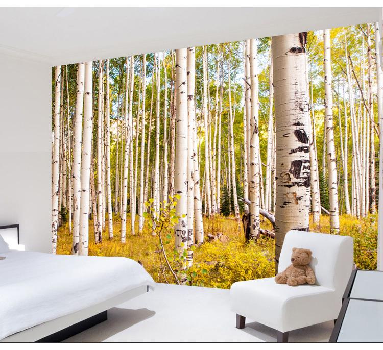 Birkenwald 3d wallpaper wohnzimmer den schlafzimmer for Tapete birkenwald