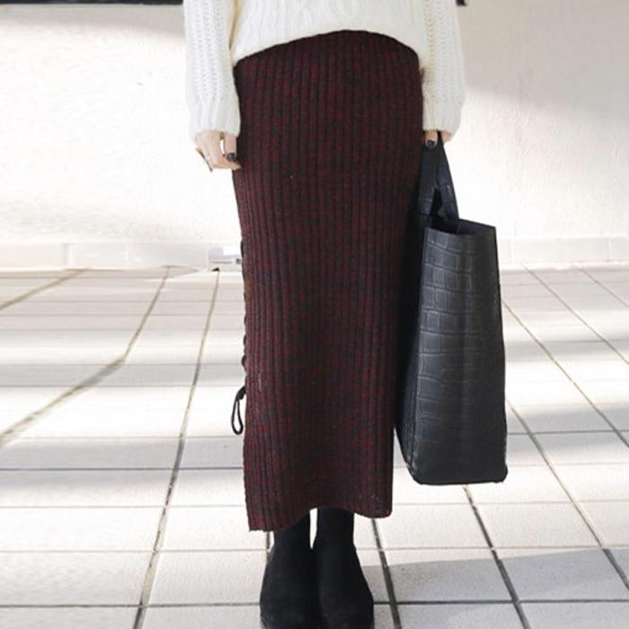 Новинка женщин осень зима утолщаются вязаная юбка пакет хип прорези уменьшают сексуальные юбки размер