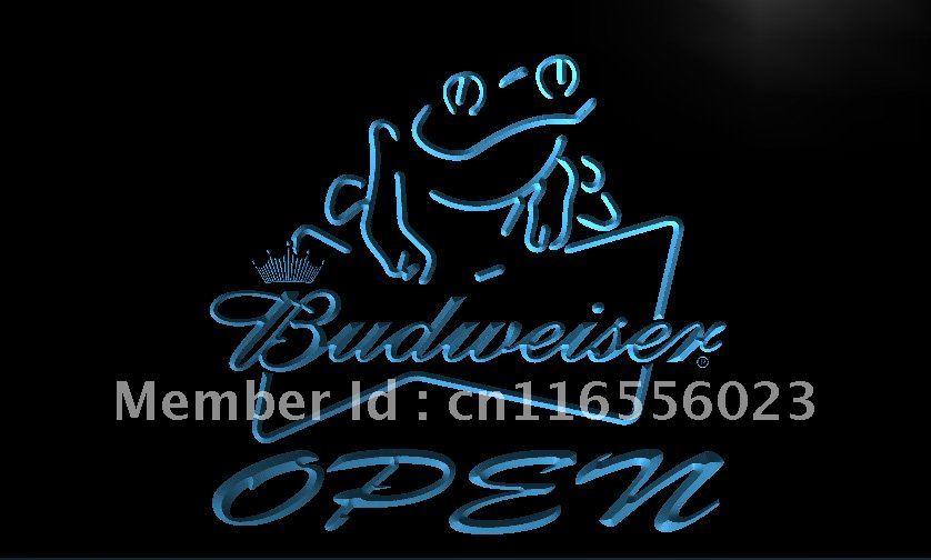 LA034- Budweiser Frog Beer OPEN Bar LED Neon Light Sign home decor shop crafts(China (Mainland))