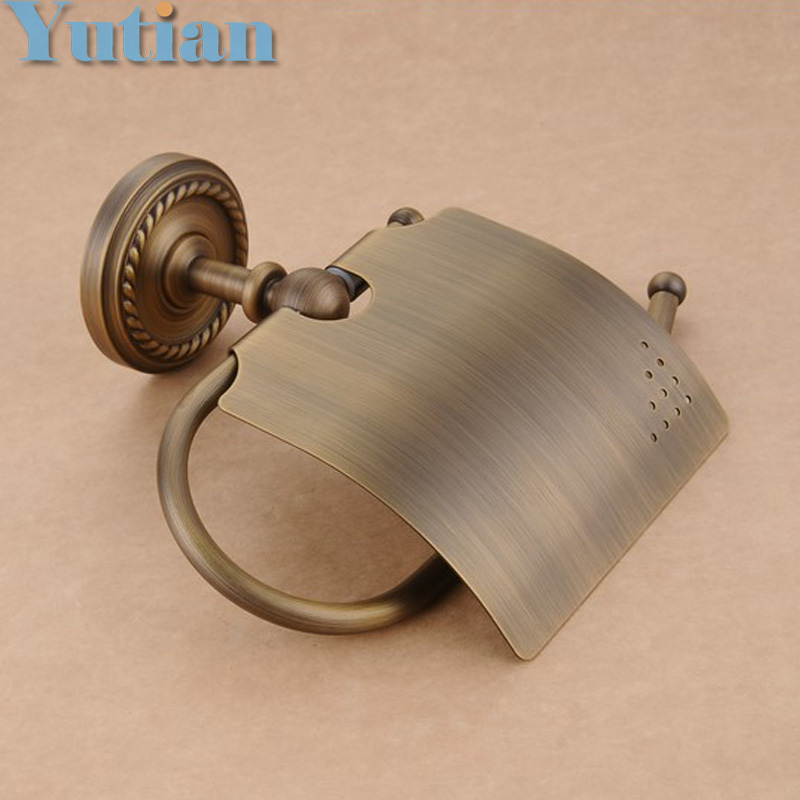 Free Shipping,Antique Brass Finish Solid Brass toilet paper holder bathroom accessoreis toilet paper holder YT-12292(China (Mainland))