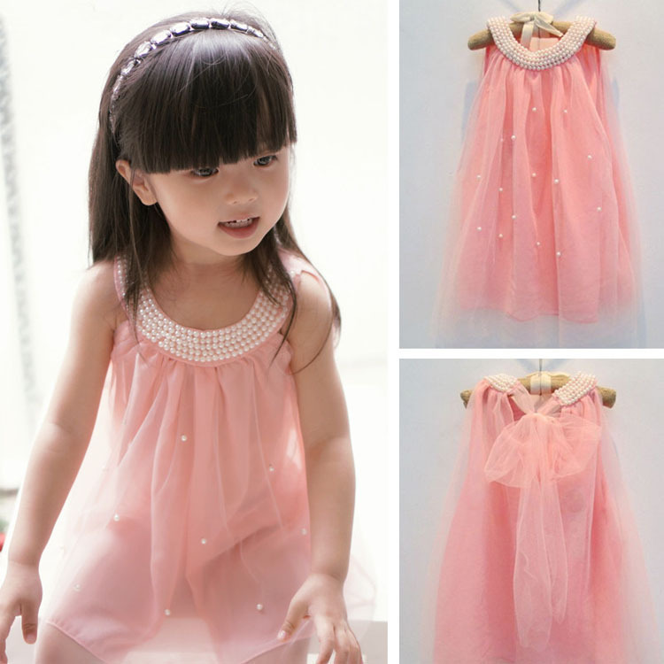 Free Shipping Children's dress fashion baby girls Pure color pearl collar Tutu Princess Dress summer style  for kids clothes(China (Mainland))