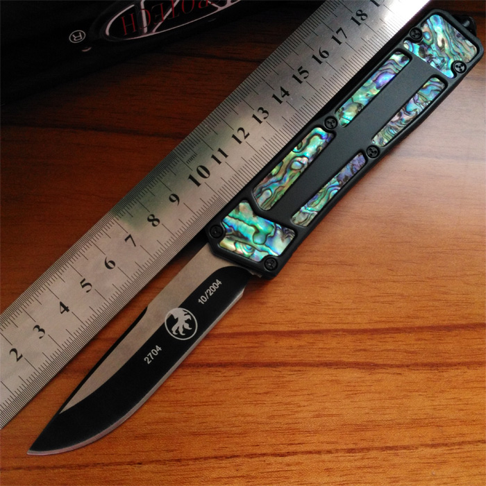 Grady Fung Version Clone Copy Microtech Scarab S/E OTF Tactical Combat Knives With Paua Black Clip EDC Gear Camping Pocket Knife(China (Mainland))